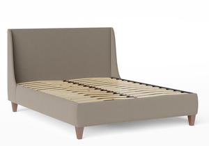 Sunderland Upholstered bed in Grey fabric  shown with slatted frame - Thumbnail