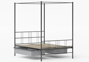 Toulon Iron/Metal Bed in Satin Black shown with underbed storage - Thumbnail