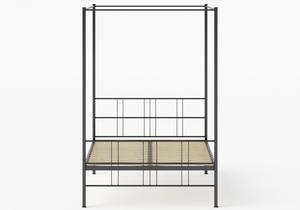 Toulon Iron/Metal Bed in Satin Black shown with slatted frame - Thumbnail