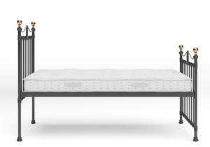 Tulsk Iron/Metal Bed in Satin Black with Brass details shown with Juno 1 mattress - Thumbnail