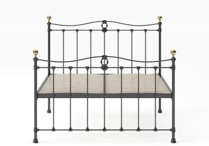 Tulsk Iron/Metal Bed in Satin Black with Brass details shown with slatted base - Thumbnail