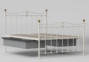 Tulsk Iron/Metal Bed in Glossy Ivory with Brass details shown with underbed storage - Thumbnail