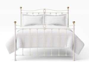 Tulsk Iron/Metal Bed in Glossy Ivory with Brass details  - Thumbnail