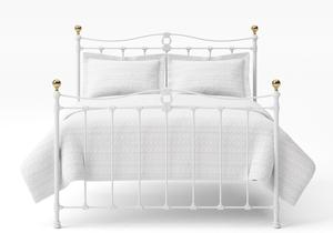 Tulsk Iron/Metal Bed in Satin White with Brass details  - Thumbnail