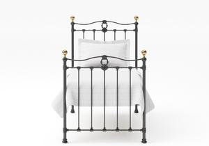 Tulsk Single Iron/Metal Bed in Satin Black with Brass details - Thumbnail