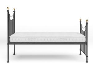 Virginia Single Iron/Metal in Satin Black with Brass details shown with Juno 1 mattress - Thumbnail