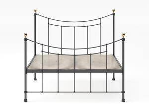 Virginia Single Iron/Metal in Satin Black with Brass details shown with slatted frame - Thumbnail