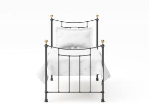 Virginia Single Iron/Metal Bed in Satin Black with Brass details - Thumbnail
