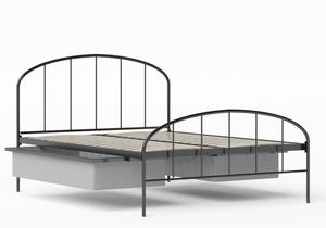 Waldo Iron/Metal Bed in Satin Black shown with underbed storage - Thumbnail
