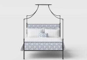 Waterloo Wrought Iron/Metal Four Poster Bed in Satin Black with Fabric Upholstered Panel - Thumbnail