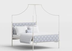 Waterloo Wrought Iron/Metal Four Poster Bed in Glossy Ivory with Fabric Upholstered Panel - Thumbnail