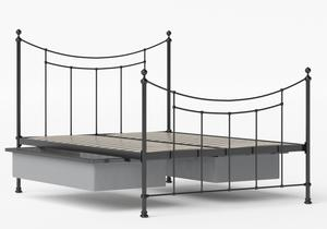 Winchester Iron/Metal Bed in Satin Black shown with underbed storage - Thumbnail