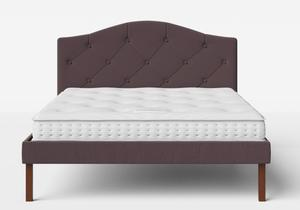 Yoshida Upholstered Bed with Aubergine fabric with buttoning shown with Juno 1 mattress - Thumbnail