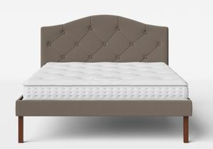 Yoshida Upholstered Bed with Grey fabric with buttoning shown with Juno 1 mattress - Thumbnail