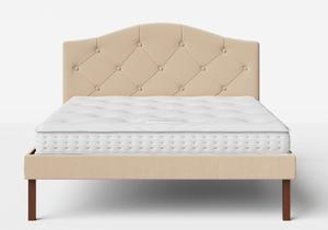 Yoshida Upholstered Bed with Natural fabric with buttoning shown with Juno 1 mattress - Thumbnail