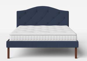 Yoshida Upholstered Bed with Navy fabric with buttoning shown with Juno 1 mattress - Thumbnail