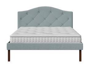 Yoshida Upholstered Bed with Wedgewood fabric with buttoning shown with Juno 1 mattress - Thumbnail