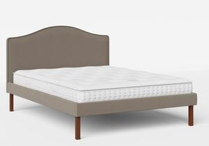 Yoshida Upholstered Bed with Grey fabric with piping shown with Juno 1 mattress - Thumbnail