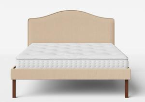 Yoshida Upholstered Bed with Natural fabric with piping shown with Juno 1 mattress - Thumbnail