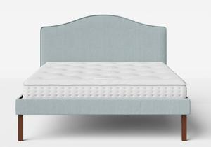 Yoshida Upholstered Bed with Wedgewood fabric with piping shown with Juno 1 mattress - Thumbnail