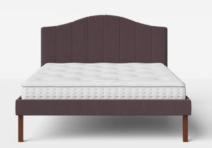 Yoshida Upholstered Bed with Aubergine fabric shown with Juno 1 mattress - Thumbnail