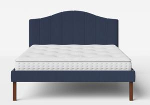 Yoshida Upholstered Bed with Navy fabric shown with Juno 1 mattress - Thumbnail