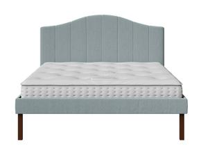 Yoshida Upholstered Bed with Wedgewood fabric shown with Juno 1 mattress - Thumbnail