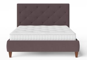 Yushan Upholstered Bed in Aubergine fabric with buttoning shown with Juno 1 mattress - Thumbnail
