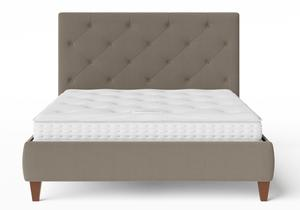 Yushan Upholstered Bed in Grey fabric with buttoning shown with Juno 1 mattress - Thumbnail