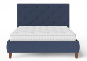 Yushan Upholstered Bed in Navy fabric with buttoning shown with Juno 1 mattress - Thumbnail
