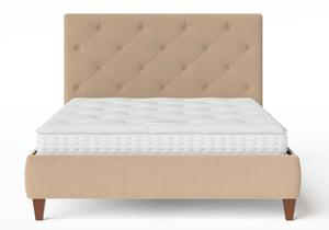 Yushan Upholstered Bed in Straw fabric with buttoning shown with Juno 1 mattress - Thumbnail