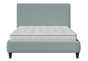 Yushan Upholstered Bed in Wedgewood fabric with piping shown with Juno 1 mattress - Thumbnail
