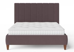 Yushan Upholstered Bed in Aubergine fabric shown with Juno 1 mattress - Thumbnail