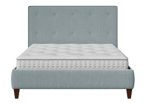 Yushan Upholstered Bed in Wedgewood fabric with buttoning shown with Juno 1 mattress - Thumbnail