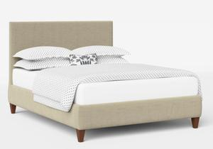 Yushan Upholstered Bed in Natural fabric shown with Juno 1 mattress - Thumbnail