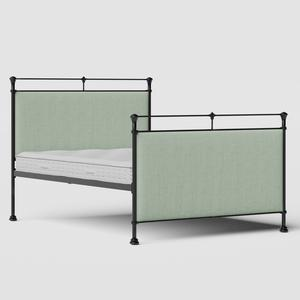 Lille iron/metal upholstered bed in black with duckegg fabric - Thumbnail