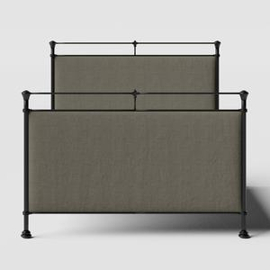 Lille iron/metal upholstered bed in black with grey fabric - Thumbnail