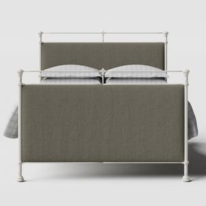 Lille iron/metal upholstered bed in ivory with grey fabric - Thumbnail