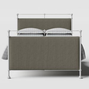 Lille iron/metal upholstered bed in white with grey fabric - Thumbnail