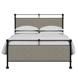 Nancy iron/metal upholstered bed in black with grey fabric - Thumbnail