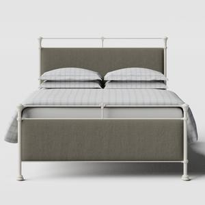Nancy iron/metal upholstered bed in ivory with grey fabric - Thumbnail