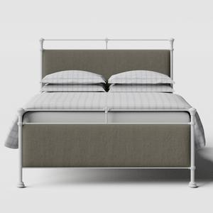 Nancy iron/metal upholstered bed in white with grey fabric - Thumbnail