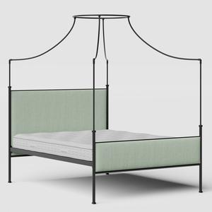 Waterloo iron/metal upholstered bed in black with duckegg fabric - Thumbnail