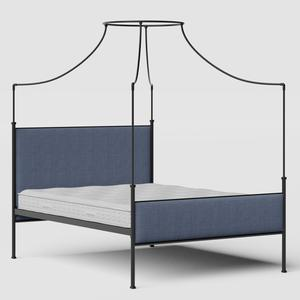 Waterloo iron/metal upholstered bed in black with blue fabric - Thumbnail