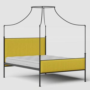 Waterloo iron/metal upholstered bed in black with sunflower fabric - Thumbnail