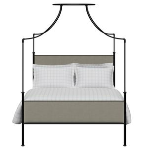 Waterloo iron/metal upholstered bed in black with grey fabric - Thumbnail