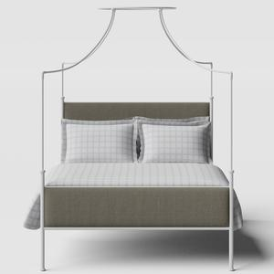 Waterloo iron/metal upholstered bed in white with grey fabric - Thumbnail