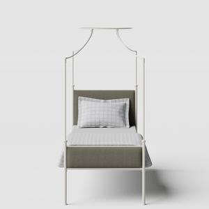 Waterloo iron/metal single bed in ivory - Thumbnail