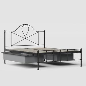 Athena iron/metal bed in black with drawers - Thumbnail