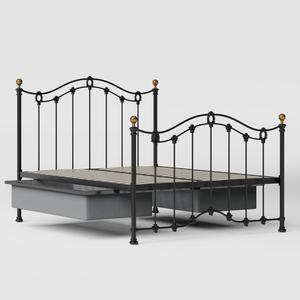 Clarina iron/metal bed in black with drawers - Thumbnail